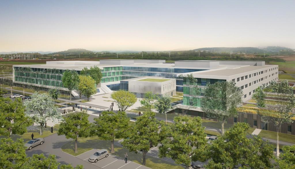 Nouveau Centre Hospitalier Carcassonne (11) 55 000 m² / 465 lits / 160 M€ Certification HQE / Conception Réalisation HQE